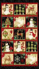"23"" TRIMMED Fabric Panel - Studio E Winter Bliss Traditional Christmas Blocks"