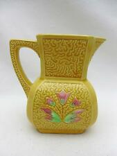 Antique Majolica Cream Pitcher, Jug Yellow w Tulips JB&W NY GERMANY Hand Painted