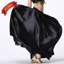 360 Full Circle Satin Long Skirt Swing Belly Dance Costume Tribal Practice Skirt