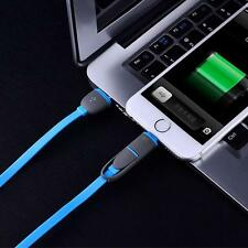 2 In 1 Portable Charger Data Sync Cable Micro USB for Android iPhone 5C Blue SD5