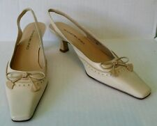 Women's Shoes Size 6.5 Beige Leather Sling Backs by Bandolino