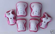 Kid's Roller Blading Wrist Elbow Knee Pads Blades Guard 6 PCS Set in Light Pink