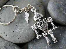 Robot Power key chain - 3D antiqued silver tone metal robot, lightning bolt