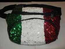 SPARKLING ITALY FLAG SEQUIN FANNYPACK PURSE CHRISTMAS GIFT ITALIAN FRIEND NEW!