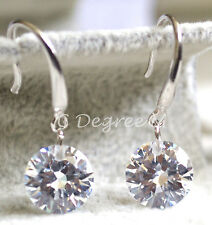 Pair of 925 Sterling Silver Faceted Clear Crystal Dangling Earrings