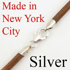 """4mm Natural Leather Cord Necklace Choker 925 Sterling Silver Clasp 16"""" NYC"""