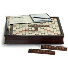 Scrabble Wood Edition with Turntable Rotating Game Board Tile Racks Word Game