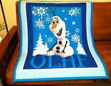 """NEW, HANDMADE, """"FROZEN-OLAF"""" 2SIDED, 36x 44in BABY/TODDLER  QUILT-GIFT IDEA"""