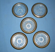 VTG Lot 5 LEONARD SILVER PLATED Silverplated Glass Crystal COASTERS Italy!