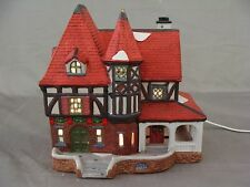 "Holiday Lighted ""Tudor House"" For Your Christmas Village"