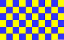 BLUE AND & YELLOW CHECKERED CHECK FLAG 3X2 feet 90cm x 60cm FLAGS SPORTS