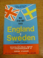 22/05/1968 England v Sweden [At Wembley] (light mark to edge). Condition: We asp