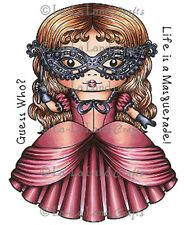 New La La Land Crafts MASQUERADE MARCI Cling Rubber Stamp Girl Halloween Custome