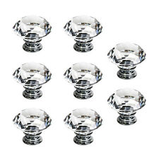 8 x Poignee Boutons de porte meuble 40mm diamant verre bling transparent WT