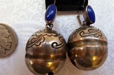Asian Tibet Bells Lapis Sterling Silver Pierced Earrings jingle sleigh Bells