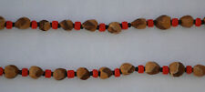 "32"" Red/Black Navajo Ghost/Cedar Beads Necklace. Juniper Berry by L. Bitsoie."