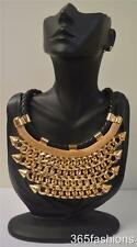 STATEMENT CHUNKY PUNK STUDDED SPIKE CHAIN BIB NECKLACE EARRING SET GOLD BLACK