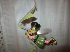 Katherine's Collection green Flying Frog Prince Fairy Ornament -leaf umbrella-EC