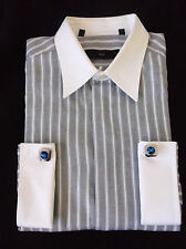 Z  Zegna Gray and White Striped Dress Shirt Long Sleeve French Cuff Size 16/ 41R