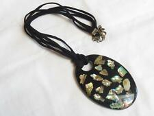 PRETTY 3 Row Soft Black Thong & Large Oval Abalone Encapsultated Resin PENDANT