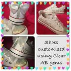 Personalised Customised Wedding Prom White Blinged Pump Trainers Bling Size 2-9