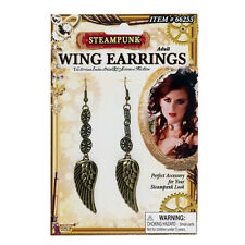 Steampunk Wing Earrings & Small Gears Metal Adult Halloween Costume Accessory