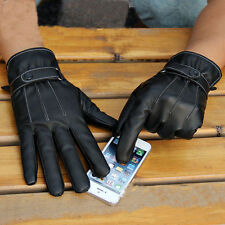Fashion Men Winter Leather Motorcycle Full Finger Touch Screen Warm Gloves UP
