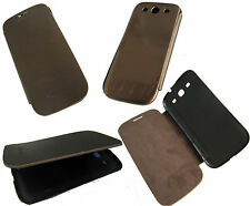 For Samsung Galaxy S3 III i9300 Front Flip Back Battery Cover Case Brown + Gold