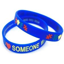 I LOVE SOMEONE with AUTISM Wristbands Medical ID Silicone Bracelet puzzle ADULT