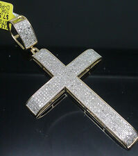 "10K Men's Yellow Gold Diamond Cross With Slanted  Edges 1.41CT, 4"" Long"