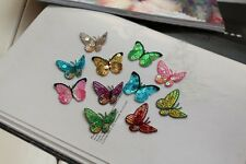 10pcs Small Embroidered Beautiful Sequins Color Butterfly Patch Iron on Applique