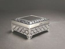 Small Silver Color Decorated Jewellery Trinket Box Lined With Dark Velveteen #7