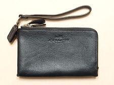 Coach Women's Double Corner zip in pebble Blue Leather Wristlet F64130 SALE