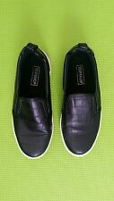 Slip On TopShop Skater Patent Faux Leather Shoes UK 3 EU 36 Black and White