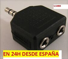ADAPTADOR DUPLICADOR CASCOS DE AUDIO JACK MACHO 3,5MM A DOBLE JACK HEMBRA 3,5MM!