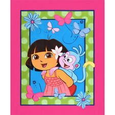 "NEW Dora The Explorer & Boots 100% cotton 44"" wide Fabric by the panel (35""-36"")"