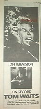 TOM WAITS Blue Valentine 1979 UK Press ADVERT 16x6""