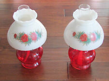 Pair of Vintage Ruby Red Rose Design Milk Glass Shade Hurricane Oil Lamp Lights