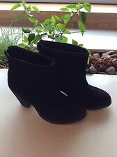 Womens Therapy Black Suede Feel Back Zip Fold Over Front Ankle Boot Size 7