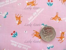 Japanese Eau De Mer Kawaii Tiny Cute Deer Pink Fabric Half Yard
