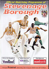 2000/01 STEVANAGE BOROUGH V ARSENAL 12-08-2000 Pre-Season Friendly