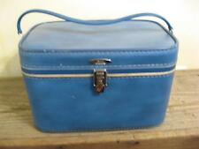 VTG Sears Featherlite Blue Train Case Make Up Carry Luggage Small Suitcase