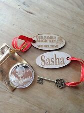 SANTA WISHING COIN~FATHER CHRISTMAS~DOUBLE SIDED~LARGE COIN & Personalised Key