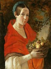PAINTING PORTRAIT STUDY KHRUTSKY LADY FRUIT BASKET ART PRINT POSTER LF714