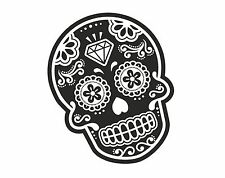 B&W Mexican Day Of The Dead SUGAR SKULL Tattoo Design vinyl car sticker decal