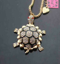 515   Betsey Johnson Crystal shiny Turtle Pendant Sweater Chain Necklace