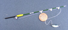 1:12 Scale Wood Fishing Rod (Pole) & Fish Dolls House Miniature Garden Accessory