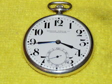 STUNNING RARE SILVER ZENITH WATCH CO DAMASKED POCKET WATCH VERY THIN BLUE JEWELS