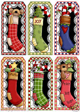 CHRISTMAS STOCKINGS (69-C) SCRAPBOOK CARD EMBELLISHMENTS HANG/GIFT TAGS