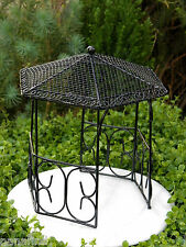 Miniature Dollhouse FAIRY GARDEN Furniture ~ Large Black Metal Gazebo ~ NEW